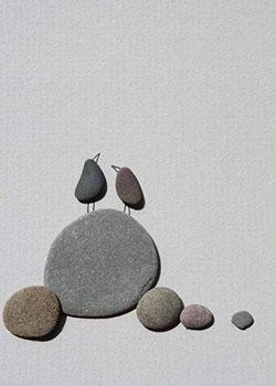 鹅卵石画小鸟