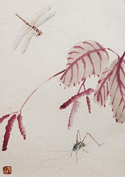 蜻蜓红叶蝈蝈